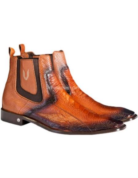 Vestigium Faded Cognac Genuine Ostrich Leg Chelsea Boots Handcrafted