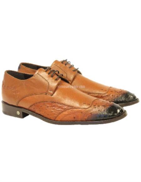 Vestigium Genuine Ostrich Derby Shoes Handmade Faded Cognac