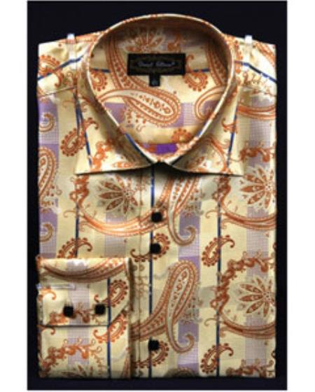 Men's Vintage Style Shirts Fancy Pattern Paisley High Collar Shiny Gold Dress Shirt $47.00 AT vintagedancer.com