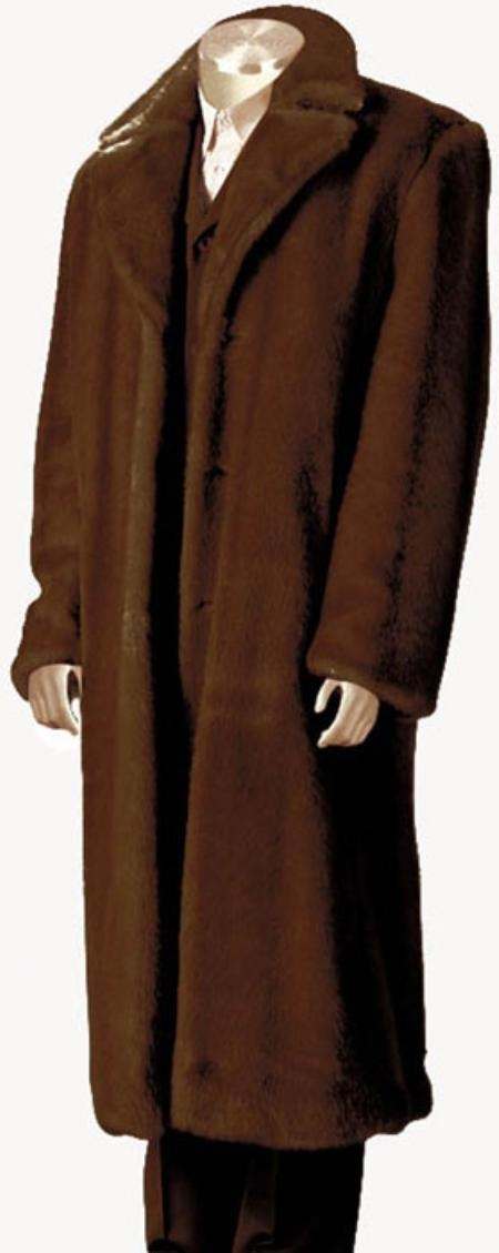 Men's Vintage Style Coats and Jackets Faux Fur Full Length Coat Coco Chocolate brown $200.00 AT vintagedancer.com