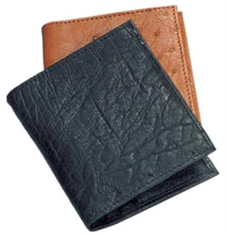 Ferrini Genuine Smooth Ostrich Wallet Dark color black,Cognac