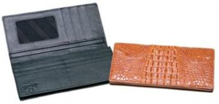 Ferrini Genuine Hornback crocodile skin Checkbook Wallet Dark color black,Cognac