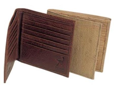 Ferrini Genuine Smooth Ostrich Wallet Oryx,Coco Chocolate brown