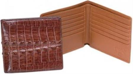 Ferrini Cognac Genuine Hornback crocodile skin Wallet Cognac