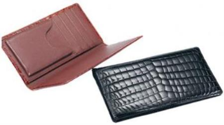 Ferrini ABCK Genuine crocodile skin Check Book Wallet Dark color black,Cognac