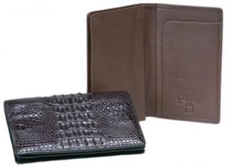 Ferrini Genuine Hornback crocodile skin Card Holder Wallet Dark color black,Coco Chocolate brown