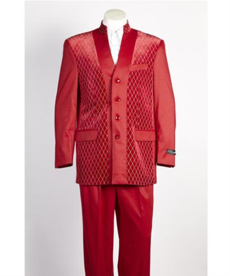 Four Button Shiny Red Suit