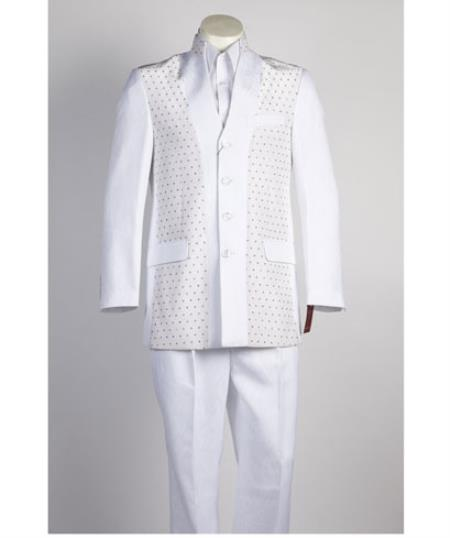 Online Indian Wedding Outfits ~ Mandarin ~ Nehru Collar Jacket Collarless Style men's 4 Button All White Suit For Men