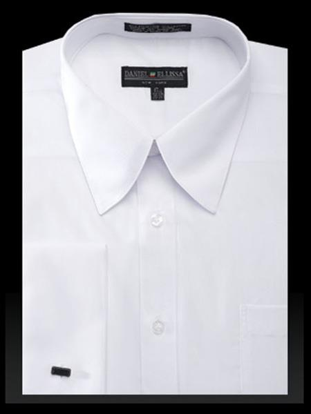 French Cuff Solid White Cotton Curved Pat Riley Collar Dress Cheap Fashion Clearance Groomsmen Shirts Sale Online For Men