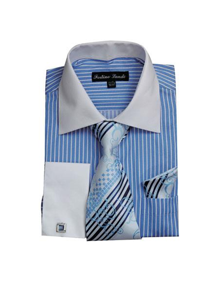 White Collared French Cuffed Dress Cheap Fashion Clearance Shirt Sale Online For Men & Tie Set Blue
