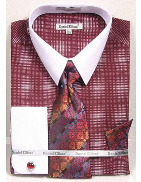 White Collared French Cuffed Burgundy Woven Design Dress Cheap Fashion Clearance Shirt Sale Online For Men