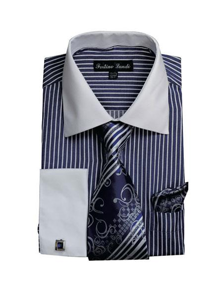 White Collared French Cuffed Navy Dress Cheap Fashion Clearance Shirt Sale Online For Men & Tie Set