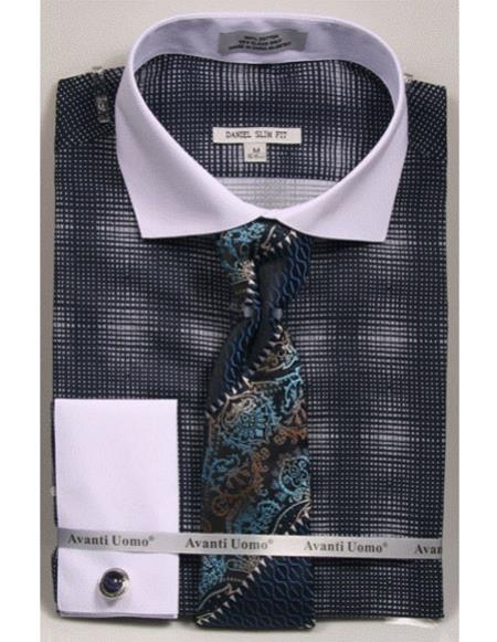 Woven Design White Collared French Cuffed Navy Slim Fit Dress Cheap Fashion Clearance Shirt Sale Online For Men