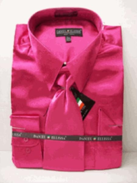 Fuchsia Satin Dress Shirt, Shirt with Matching Tie Online