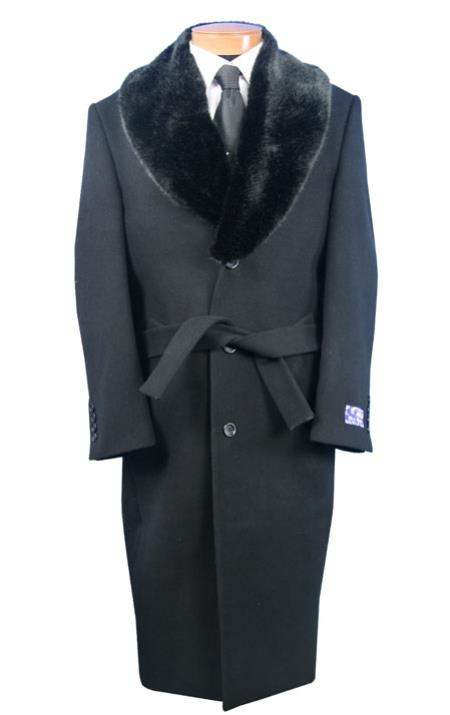 Men's Vintage Style Coats and Jackets Blu Martini Full Length Fur Collar Coco Chocolate brown Belted Wool fabric overcoats for men Dark color black $200.00 AT vintagedancer.com