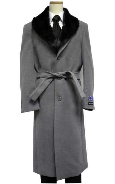 Men's Vintage Style Coats and Jackets Blu Martini Full Length Fur Collar Gray Belted Wool fabric overcoats for men $200.00 AT vintagedancer.com