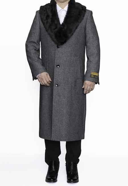 50s Men's Jackets| Greaser Jackets, Leather, Bomber, Gaberdine Removable Fur Collar Full Length Wool Dress Overcoat In Grey Herringbone $247.00 AT vintagedancer.com