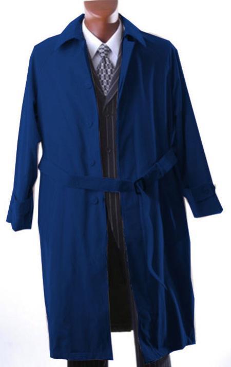 Retro Clothing for Men | Vintage Men's Fashion Dark navy blue colored Full Length All Year Round Raincoat-Trench Coat $200.00 AT vintagedancer.com