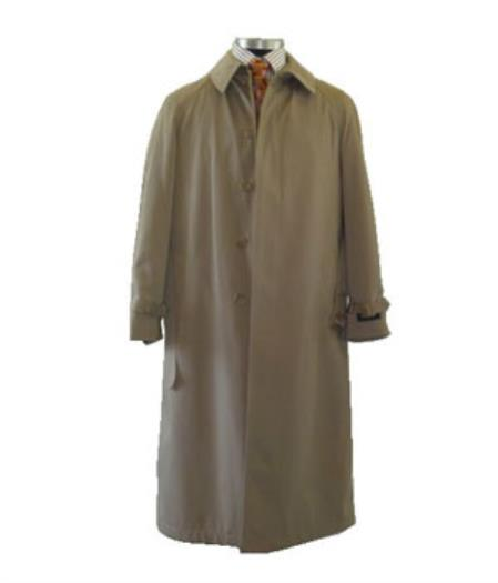 Men's Dress Coat Cheap Priced Available In Big & Tall Sizes Front 5 Button Tan Color Full Length Raincoat