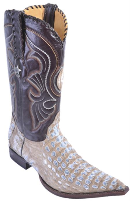 Authentic Los Altos Caiman Skin Boot Beige Western Boots