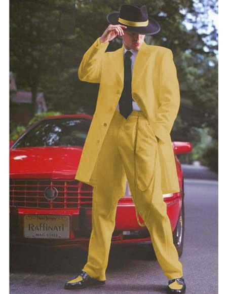 1930s Style Mens Suits Light Weight Fabric Gold  Mustard  Yellowish Notch Collar Long Zoot Suit $137.00 AT vintagedancer.com