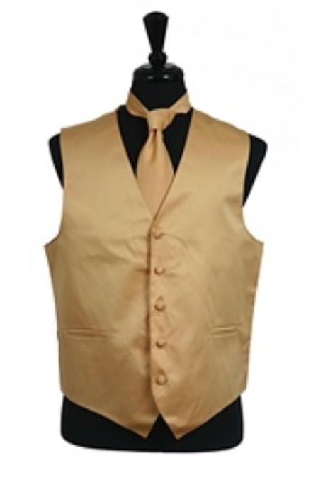 Mens Gold Vest Tie Combo Tuxedo Shirt With 5 Button Vest