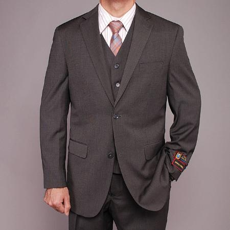ID#RS2255 Fiorelli Gray Teakweave 2-button Vested 3 ~ Three Piece suit