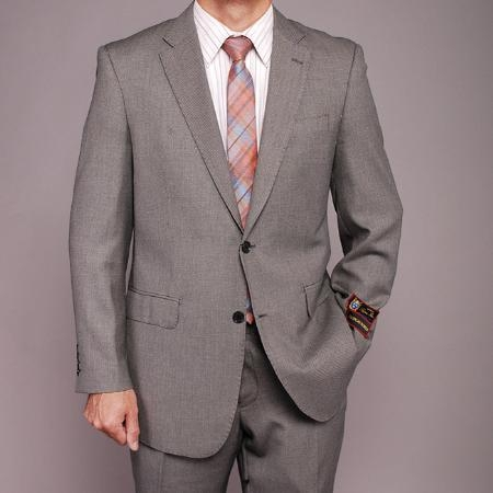 Gray Wedding / Prom Birdseye 2-button Cheap Priced Fitted Tapered cut Suit