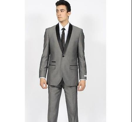 Grey Dark Color Black Shawl Collar Slim Fit 2 Pc Tuxedo Sui