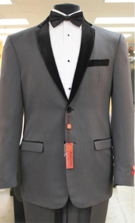 Grey With Dark Color Black Trim Edge Two Buttons Sportcoat J