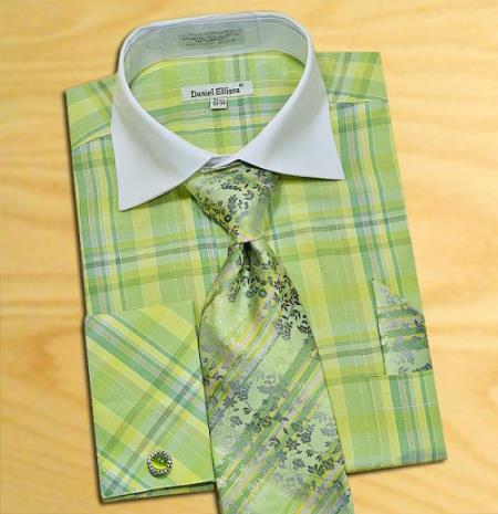 Lime kelly green mint Green / White Check Design Shirt / Tie / Hanky Combo With Free Cufflinks