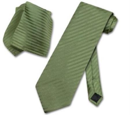 Green Vertical Stripes Neck Tie
