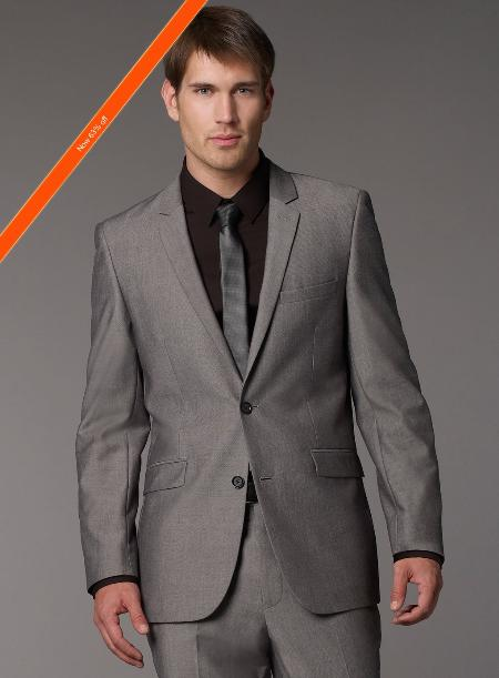 Grey Slim Fit Suit Single Breasted Jacket Flat Front Pants