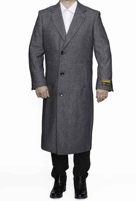 Men's Vintage Style Coats and Jackets Full Length Wool Dress Top Coat  Overcoat In Grey Herringbone $247.00 AT vintagedancer.com