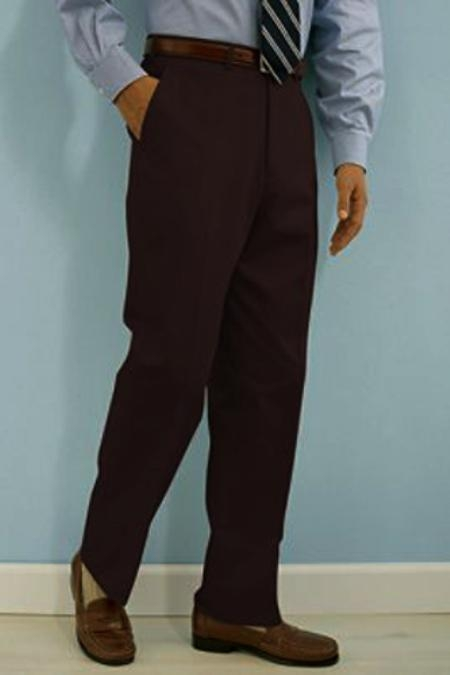 ID#SQ233 PA-100 Coco Chocolate brown crafted professionally italian fabric Flat Front Wool fabric Dress Pants Hand Made Relax Fit