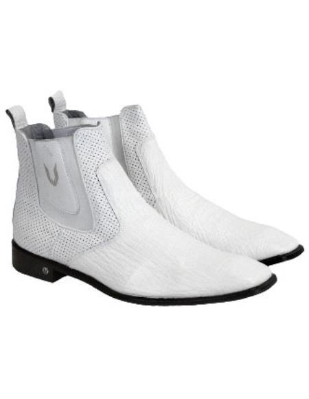 Vestigium Genuine Sharkskin Chelsea Boots Handmade White