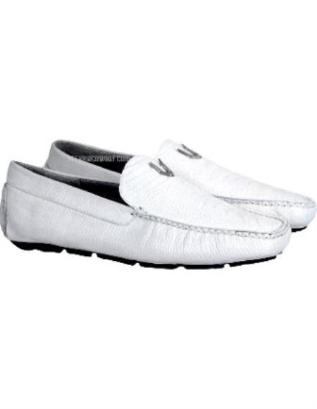White Vestigium Genuine Ostrich Leg Handmade Loafers