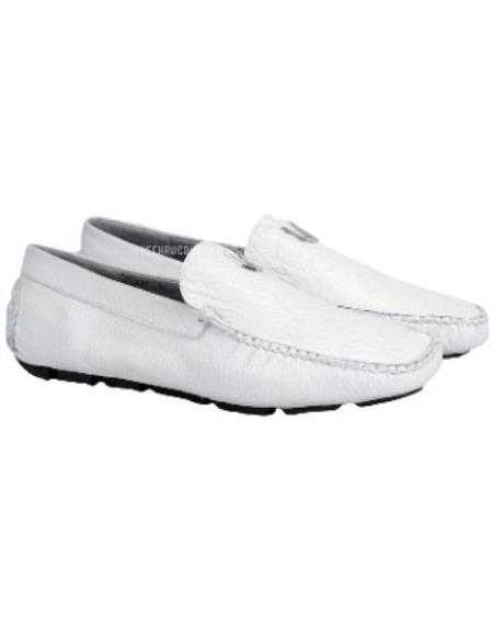 Vestigium Genuine Sharkskin Loafers Full Leather Lining Handmade White