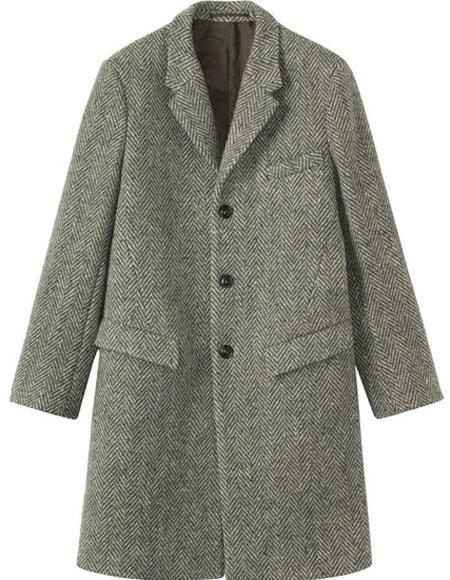 Men's Vintage Style Coats and Jackets Herringbone  Tweed 0.95 Wool Overcoat  Topcoat Gray  Grey $168.00 AT vintagedancer.com