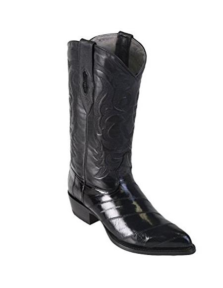 Black King Eel Skin J-Toe Formal Shoes For Men Dress Cowboy Los Altos Boots Cheap Priced For Sale Online With Sandle