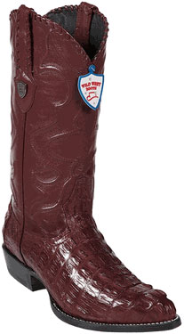 Wild West J-Toe Burgundy ~ Maroon ~ Wine Color Caiman skin ~ Gator skin Tail Western Dress Cowboy Boot Cheap Priced For Sale Online