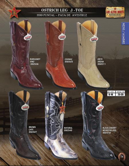 77dcea490ee ID#7U75 Authentic Los altos J-Toe Genuine Ostrich Leg western Boots Diff.  Colors/Sizes