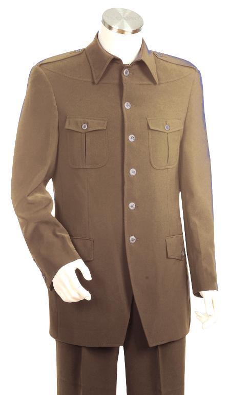 High Fashion Khaki Safari Long Length Sleeve Military Sty
