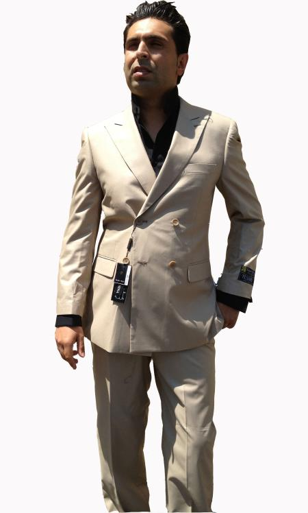 Khaki Double Breasted Suit Mens Pleated Trousers