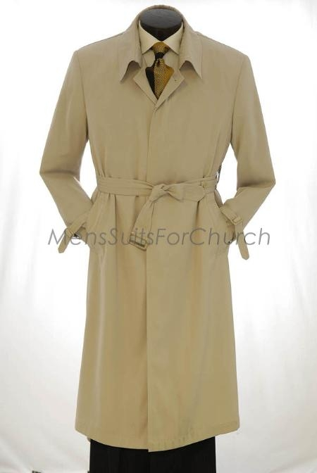 1950s Men's Clothing All Weather Full Length Trench Coat  Rain Coat Khaki  Tan  Beige Overcoat $151.00 AT vintagedancer.com