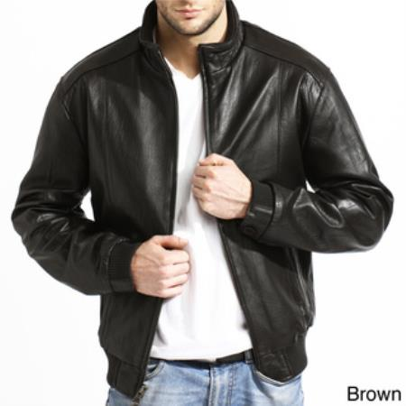 Lambskin Leather skin Dark color black,Coco Chocolate brown Available in - Big and Tall Bomber Jacket