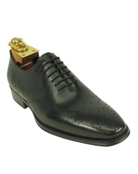Leather Black Fashionable Lace Up Style Carrucci Shoes