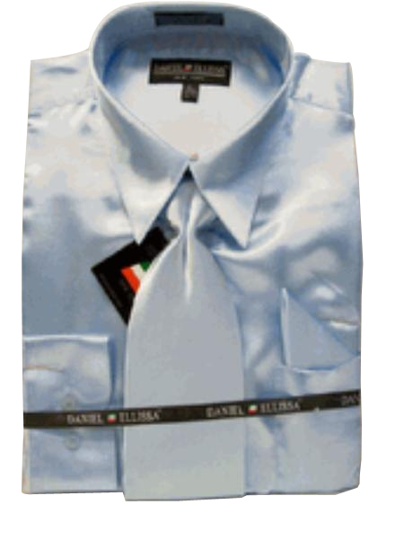 cbbfc419e27 New baby blue Satin Dress Shirt Tie Combo Shirts