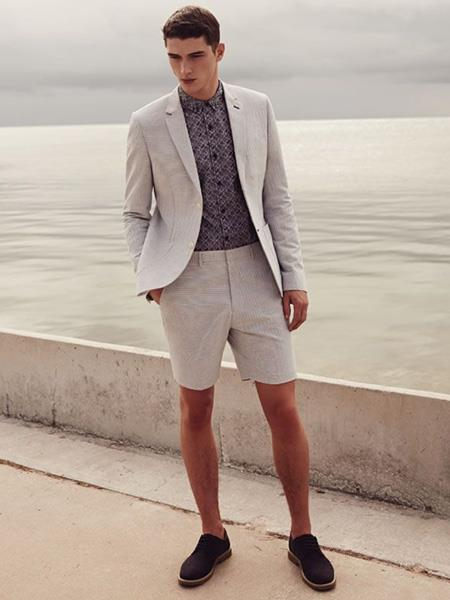 Id Db24709 Light Grey Linen For Beach Wedding Outfit Fabric Summer Business Suits With Shorts Pants Set
