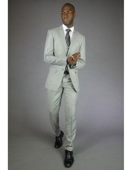 Light Grey Vested Shiny Suit